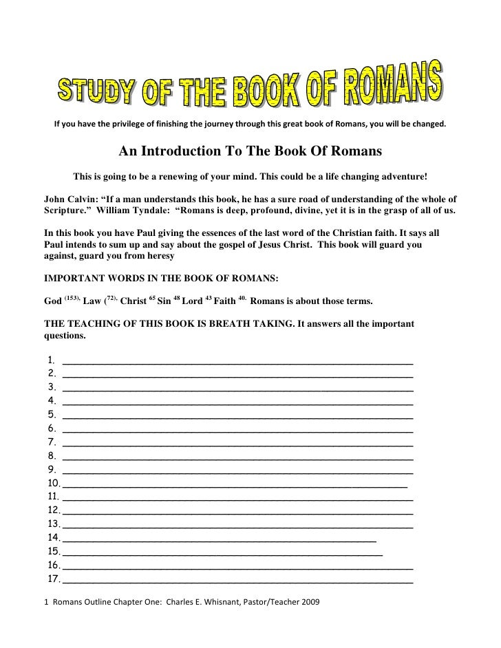 Romans Outlines Chapter One