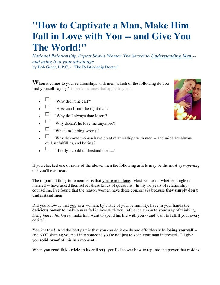 """How to Captivate a Man, Make Him Fall in Love with You -- and Give You The World!"" National Relationship Expert Shows Wom..."