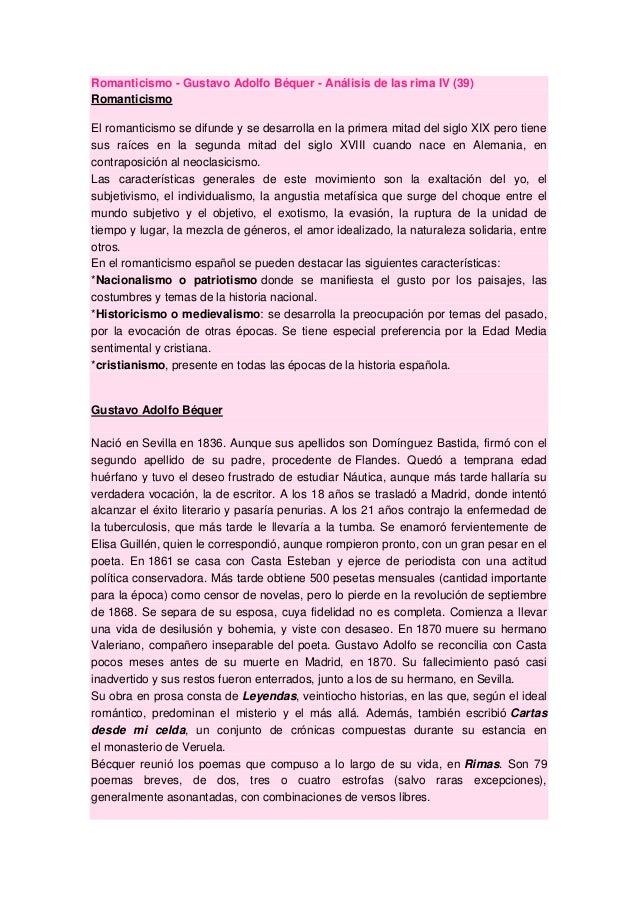 Romanticismo - Gustavo Adolfo Béquer - Análisis de las rima IV (39) Romanticismo El romanticismo se difunde y se desarroll...