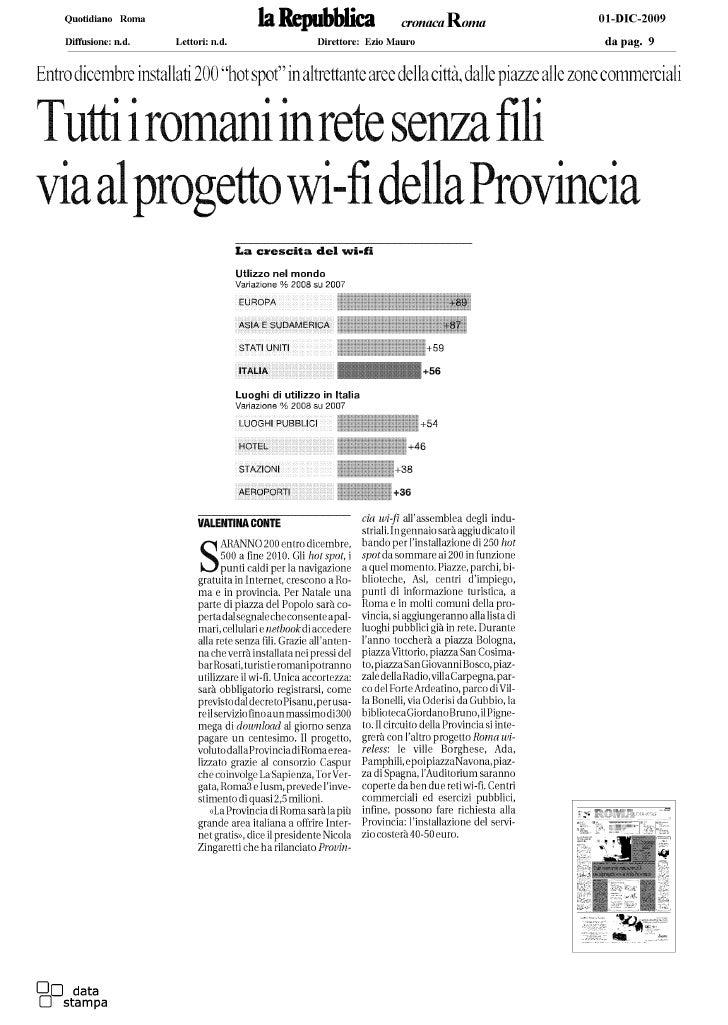Tutti i romani in rete senza fili - La Repubblica - Provincia di Roma - Nicola Zingaretti