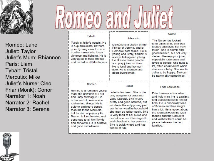 Romeo and Juliet Romeo: Lane Juliet: Taylor Juliet's Mum: Rhiannon Paris: Liam Tybalt: Tristal Mercutio: Mike Juliet's Nur...