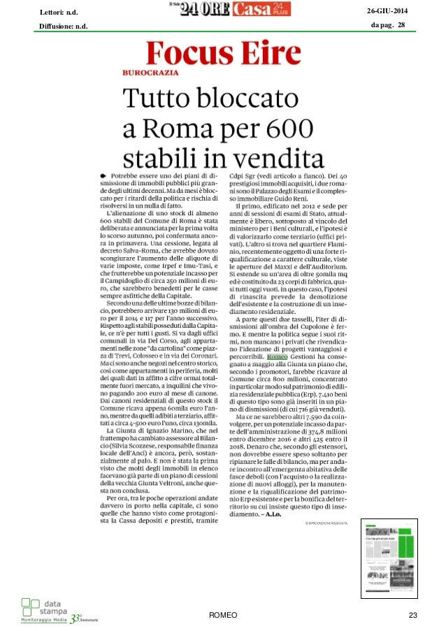Romeo Gestioni - dismissioni bloccate
