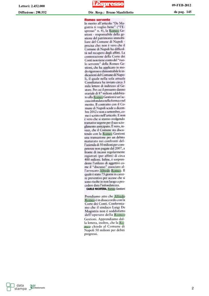 Lettori: 2.452.000                                    09-FEB-2012Diffusione: 298.552   Dir. Resp.: Bruno Manfellotto    da...