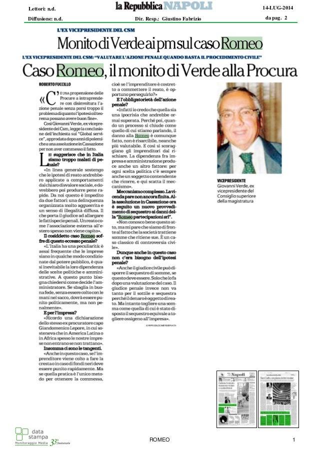 Romeo Gestioni - monito di Verde alla procura