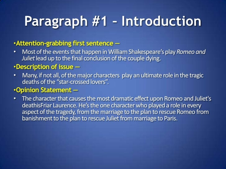 Introduction paragraphs for romeo and juliet