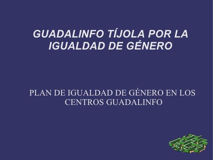 GUADALINFO TÍJOLA POR LA IGUALDAD DE GÉNERO PLAN DE IGUALDAD DE GÉNERO EN LOS CENTROS GUADALINFO