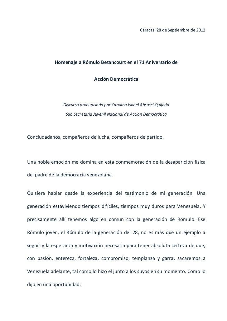 Discurso Carolina Abrusci en Homenaje a Rómulo Betancourt