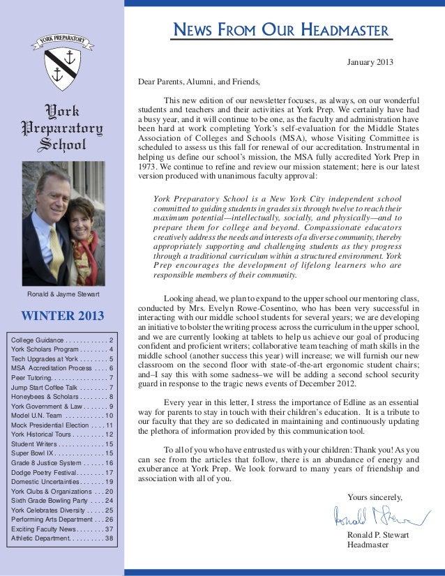 York Prep School Winter 2013 News