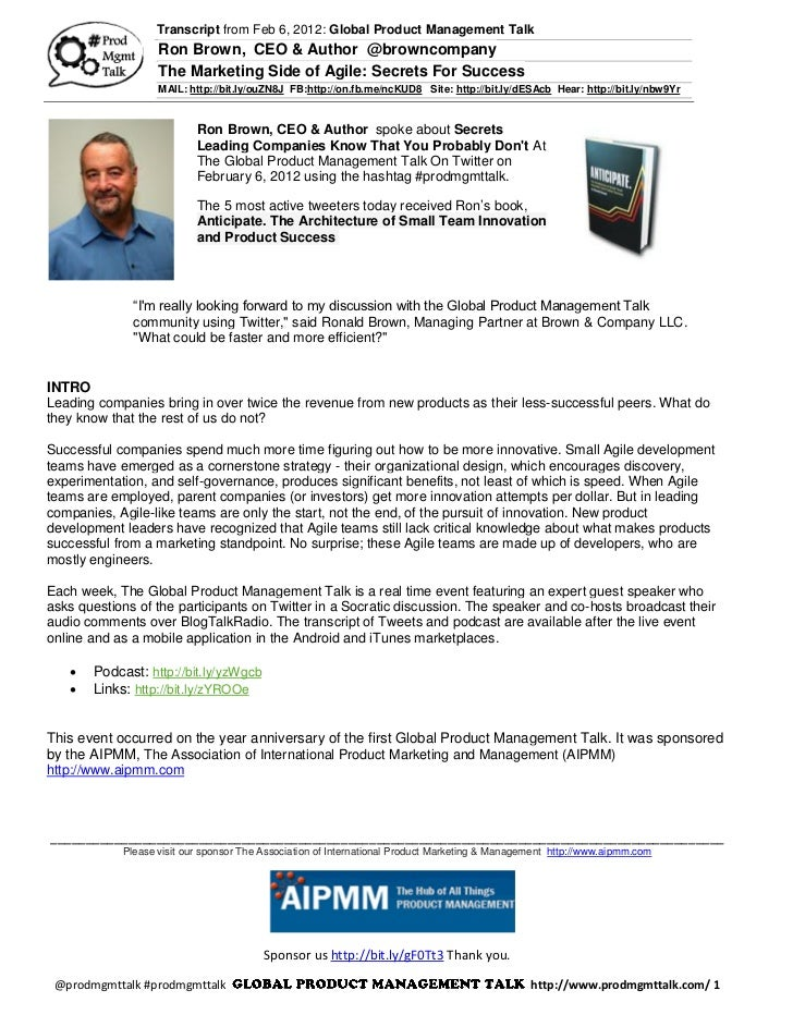 Feb 6: The Marketing Side of Agile: Secrets For Success w/ Ron Brown @browncompany