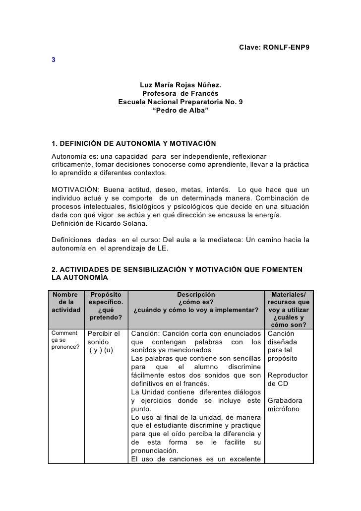 Clave: RONLF-ENP9 3                              Luz María Rojas Núñez.                             Profesora de Francés  ...