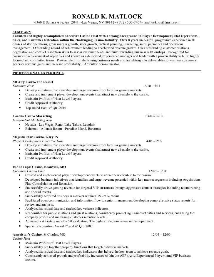 vip host description casino host resume objective