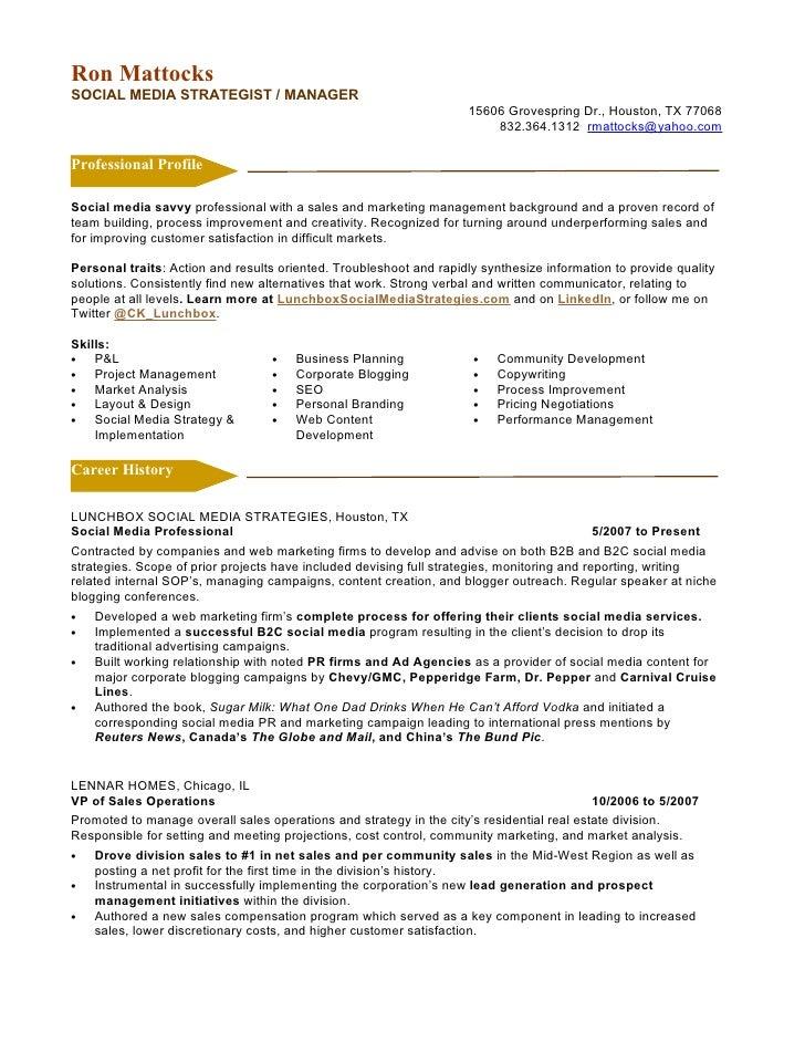 social media manager resume ~ Gopitch.co