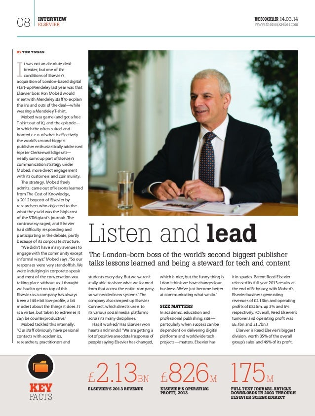 The Bookseller features Elsevier CEO Ron Mobed