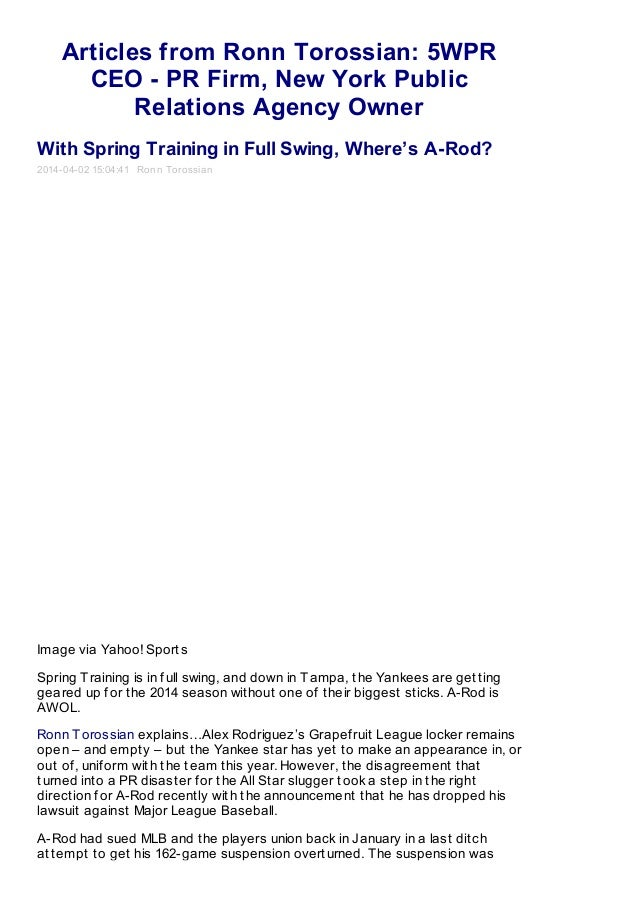 Articles from Ronn Torossian: 5WPR CEO - PR Firm, New York Public Relations Agency Owner With Spring Training in Full Swin...