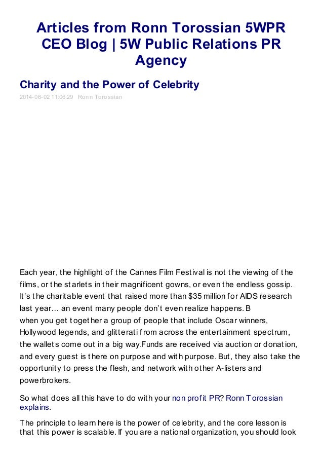 Articles from Ronn Torossian 5WPR CEO Blog | 5W Public Relations PR Agency Charity and the Power of Celebrity 2014-06-02 1...