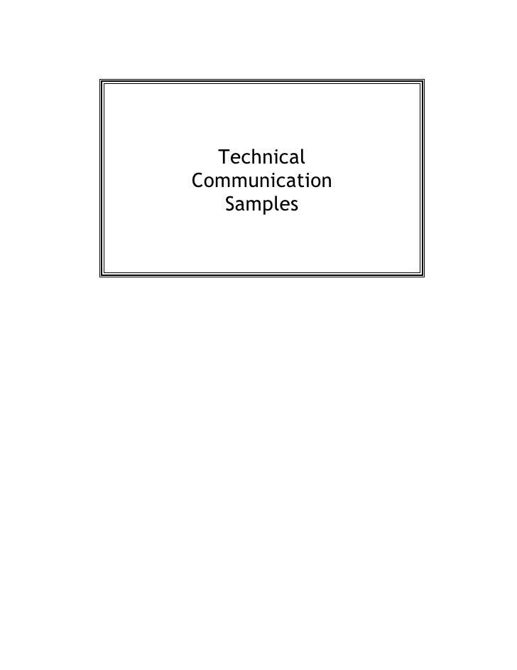 Technical Communication    Samples