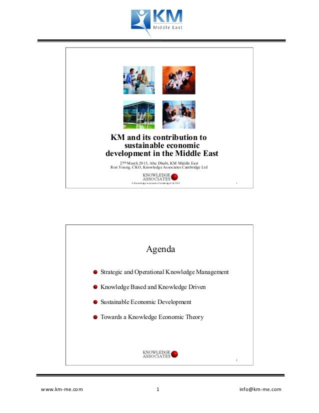 KM and its contribution to                           sustainable economic                      development in the Middle E...