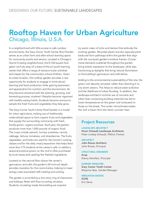 Designing our Future: Sustainable LandscapesRooftop Haven for Urban AgricultureChicago, Illinois, U.S.A.In a neighborhood ...