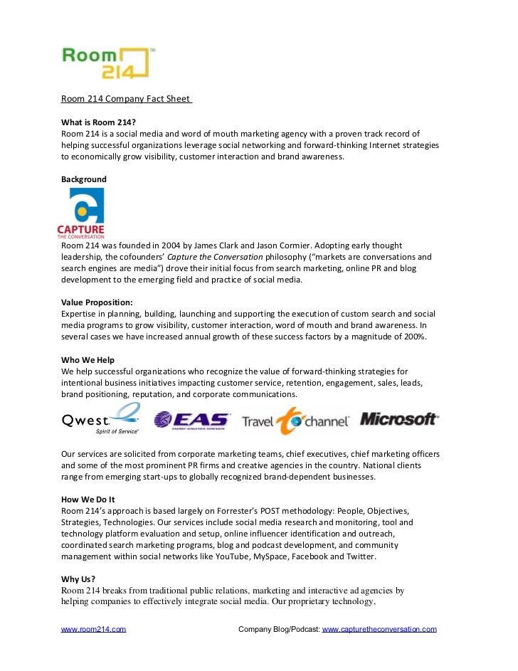 Room214 Social Media Agency Overview 2009
