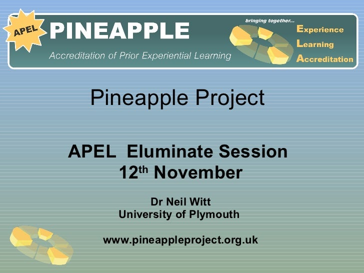 Pineapple Project  APEL  Eluminate Session  12 th  November Dr Neil Witt University of Plymouth  www.pineappleproject.org.uk