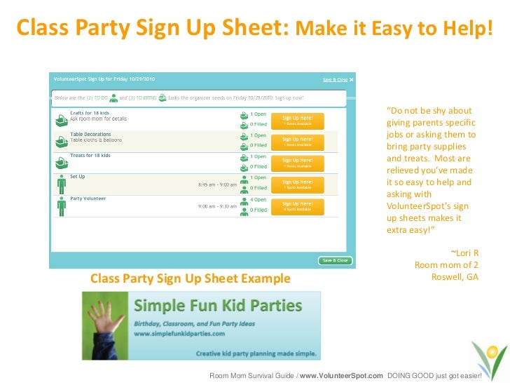 Wrap Party Sign in Sheet Class Party Sign up Sheet
