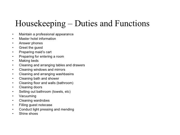 housekeeper hotel hospitality resume example modern highlights 4 house keeper duties - Housekeeping Responsibilities