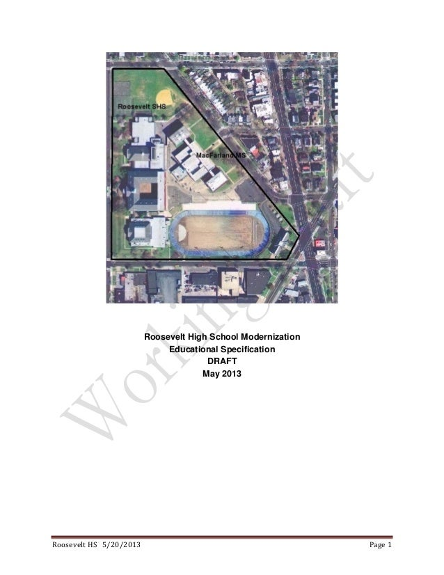 Roosevelt High School Modernization Educational Specifications (May Draft)