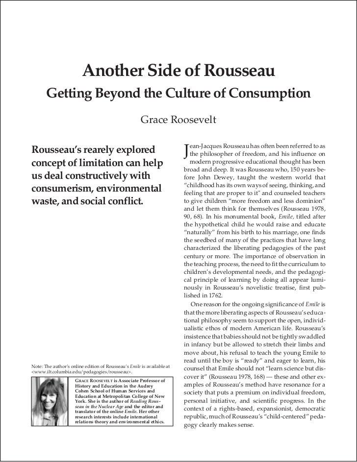 Another Side of Rousseau       Getting Beyond the Culture of Consumption                                                  ...