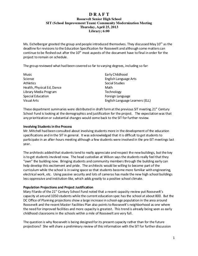 D R A F TRoosevelt Senior High SchoolSIT (School Improvement Team) Community Modernization MeetingThursday, April 25, 2013...