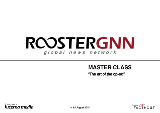 "ROOSTERGNN Master Class: ""The art of the Op-Ed"""