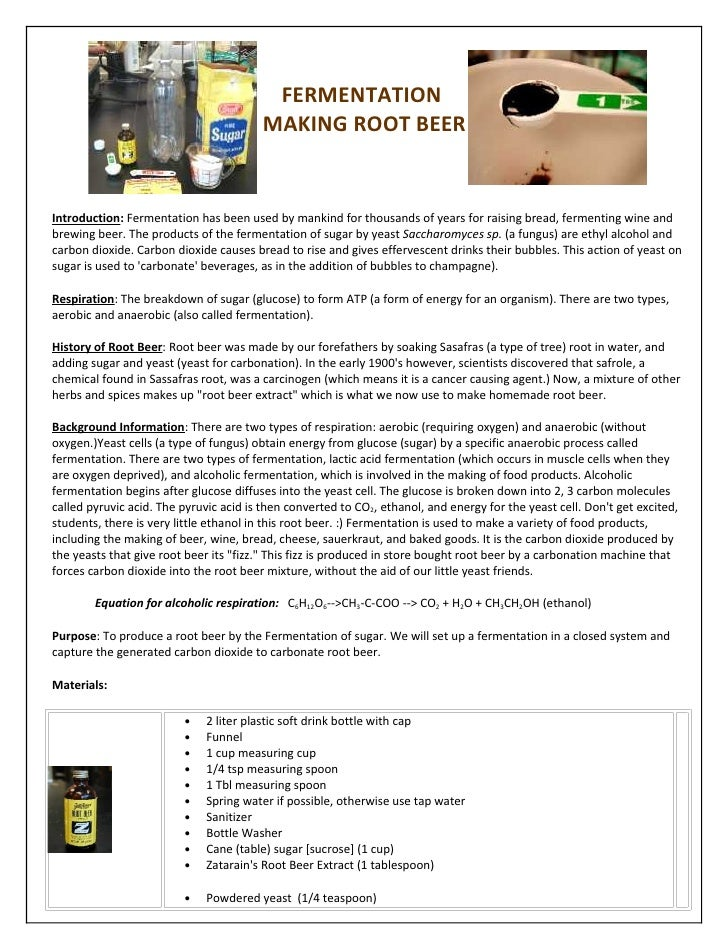FERMENTATION                                          MAKING ROOT BEER   Introduction: Fermentation has been used by manki...