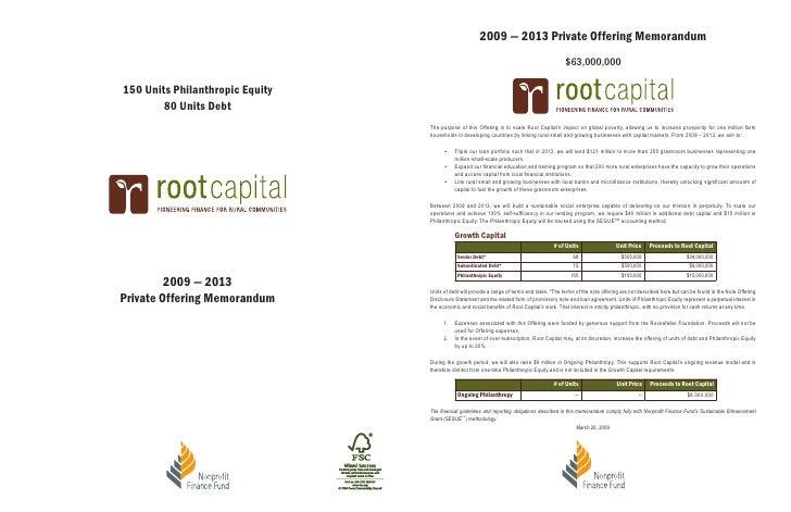 2009 — 2013 Private Offering Memorandum                                                                                   ...