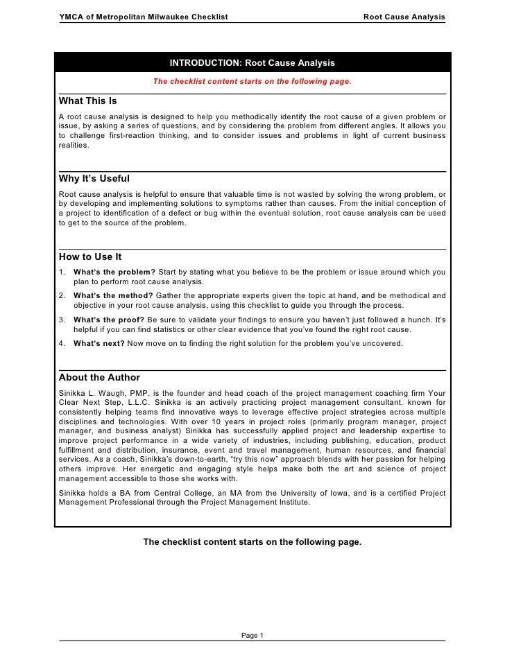 YMCA of Metropolitan Milwaukee Checklist                                            Root Cause Analysis                   ...