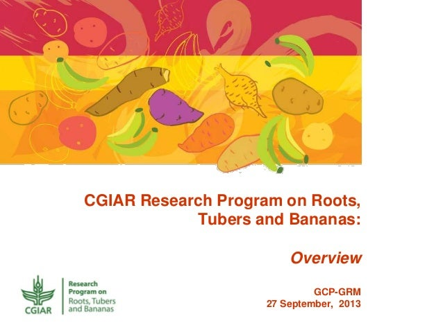 CGIAR Research Program on Roots, Tubers and Bananas: Overview GCP-GRM 27 September, 2013