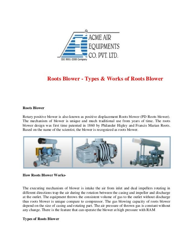 Types Of Blowers : Roots blower types works of