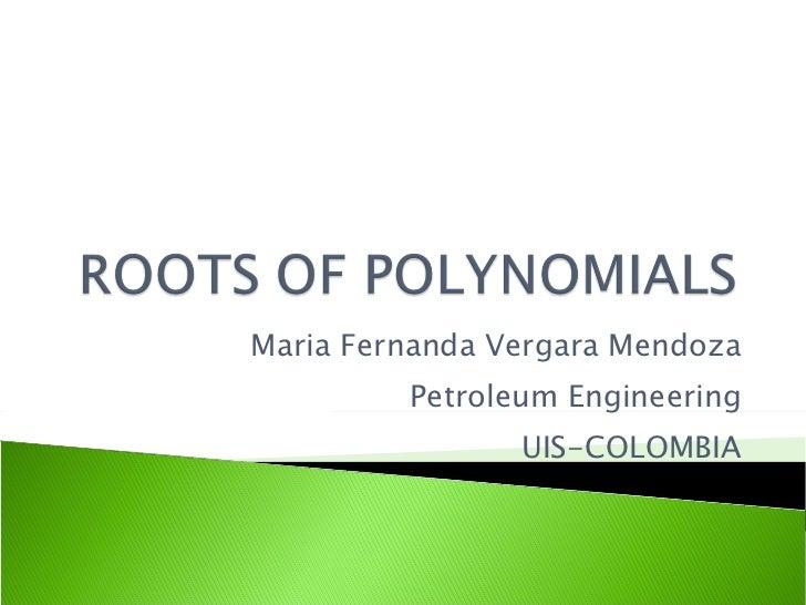 Maria Fernanda Vergara Mendoza Petroleum Engineering UIS-COLOMBIA