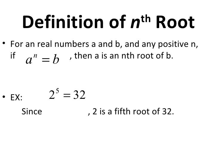 mathematical term meaning to calculate the root of a number Now to check that which is the number from 31-39 we know that the unit number is 4 & their are 2 numbers which has square as 4 ie 2 &8 we are not taking 5 becauae it is simple to get a number with unit digit as 5 to square root like 25 ,625,15625 as square of 3 is more near to 1024 therefore.