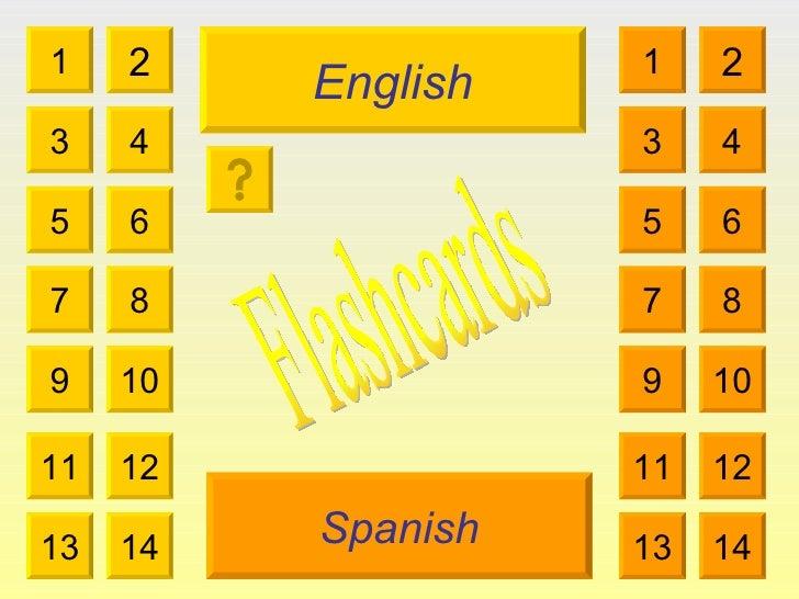 English Spanish 1 3 2 4 5 7 6 8 9 10 11 12 13 14 1 3 2 4 5 7 6 8 9 10 11 12 13 14 Flashcards