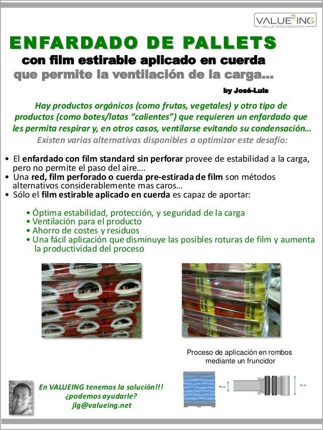 E N FA R DA D O D E PA L L E T S   con film estirable aplicado en cuerda  que permite la ventilación de la carga…         ...