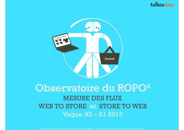 Observatoire du ROPO² MESURE DES FLUX WEB TO STORE et STORE TO WEB Vague #2 – S1 2013 1© FullSIX Data 2013 - Strictly conf...
