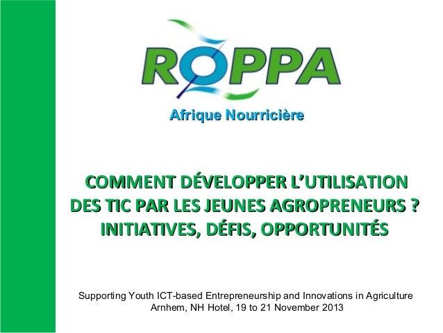 Afrique Nourricière  COMMENT DÉVELOPPER L'UTILISATION DES TIC PAR LES JEUNES AGROPRENEURS ? INITIATIVES, DÉFIS, OPPORTUNIT...