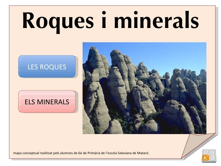 Roques i minerals LES ROQUES ELS MINERALS mapa conceptual realitzat pels alumnes de 6è de Primària de l'escola Salesiana d...