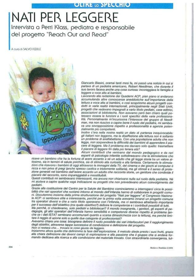 2001: Intervista a Perry Klass pediatra e responsabile del progetto Reach out and read