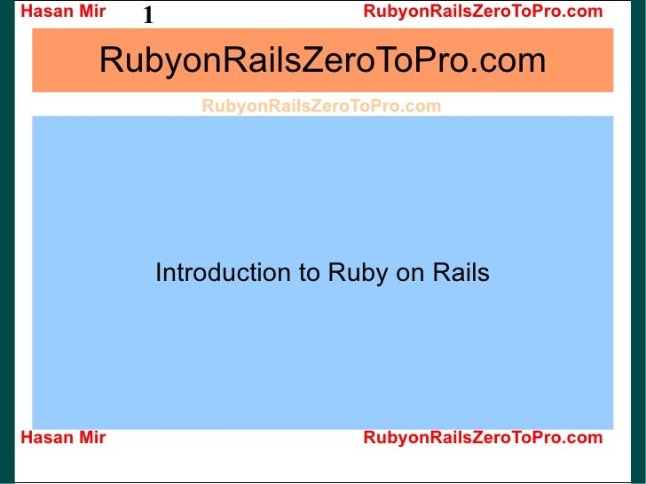 RubyonRailsZeroToPro.com Introduction to Ruby on Rails