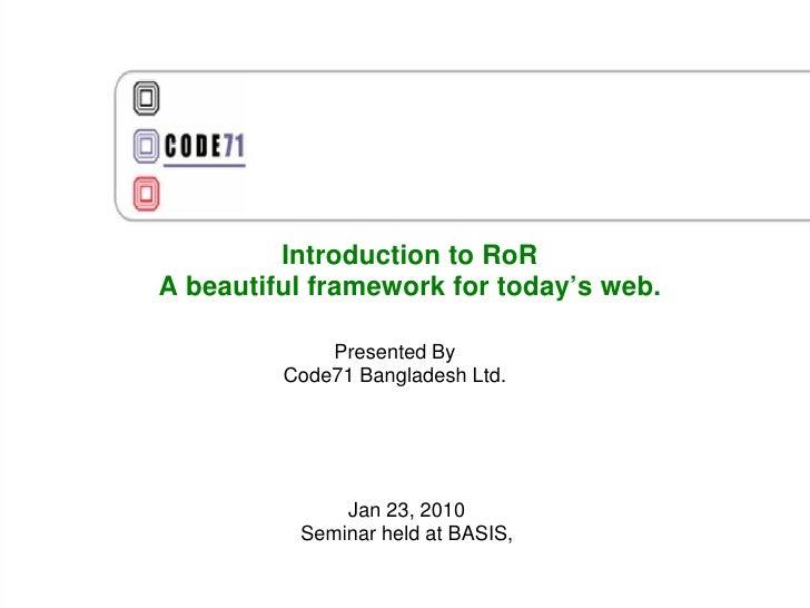 Ror Seminar With agilebd.org on 23 Jan09