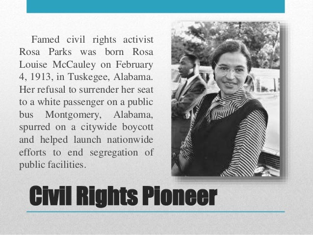 a biography of rosa mccauly parks a civil rights activist
