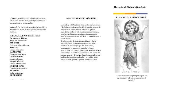 Rosario al Divino Niño Jesús- Gozo 4: Acuérdate de mi Niño Jesús Santo que             ORACION AL DIVINO NIÑO JESÚS       ...