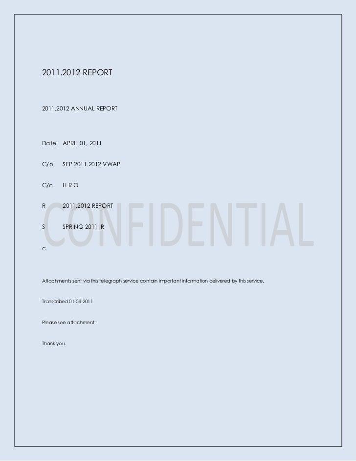 2011.2012 REPORT<br />2011.2012 ANNUAL REPORT<br />DateAPRIL 01, 2011<br />C/oSEP 2011.2012 VWAP<br />C/cH R O<br />R2011....