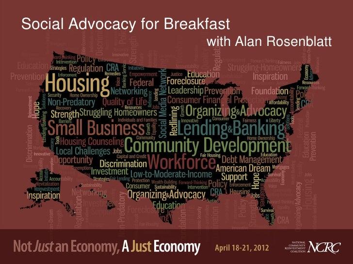 Social Advocacy for Breakfast                         with Alan Rosenblatt
