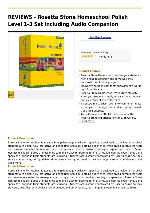 REVIEWS - Rosetta Stone Homeschool PolishLevel 1-3 Set including Audio CompanionViewUserReviewsAverage Customer Rating4.0 ...